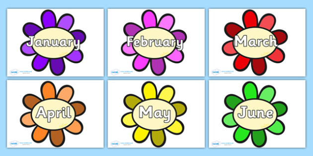 Months of the Year on Flowers - Months of the Year, Months poster, Months display, display, poster, frieze, Months, month, January, February, March, April, May, June, July, August, September