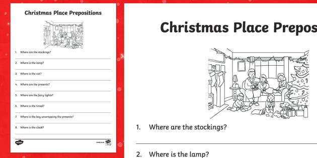 Christmas Place Prepositions Written Questions Activity Sheet