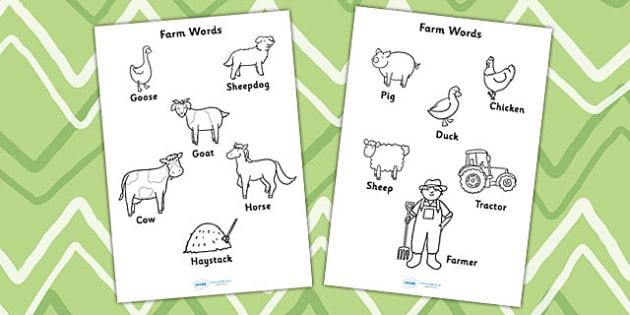 Farm Words Colouring Sheet - farm, animals, farm words, colour