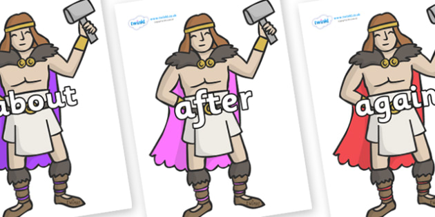 KS1 Keywords on Viking Warriors - KS1, CLL, Communication language and literacy, Display, Key words, high frequency words, foundation stage literacy, DfES Letters and Sounds, Letters and Sounds, spelling
