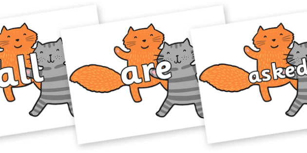 Tricky Words on Cats to Support Teaching on What the Ladybird Heard - Tricky words, DfES Letters and Sounds, Letters and sounds, display, words