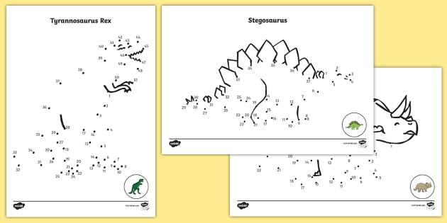 Dinosaurs Dot to Dot Sheets  - dot to dot sheets dinosaurs, dot to dot, sheets, dinosaurs, dinosaur, animals, animal, colouring, fine motor skills, drawing, game, activity, draw, line