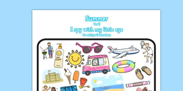 Summer-Themed I Spy With My Little Eye Activity Romanian Translation - summer, hot, sun, look, find, activity, game, play, pairs, together, hunt, i, spy, Romanian