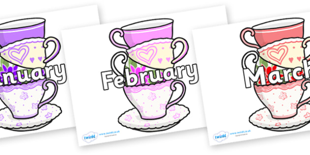 Months of the Year on Teacups - Months of the Year, Months poster, Months display, display, poster, frieze, Months, month, January, February, March, April, May, June, July, August, September