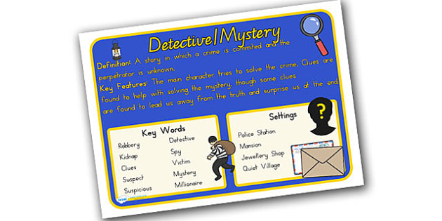 Story Genres Detective Mystery Display Poster - stories, books