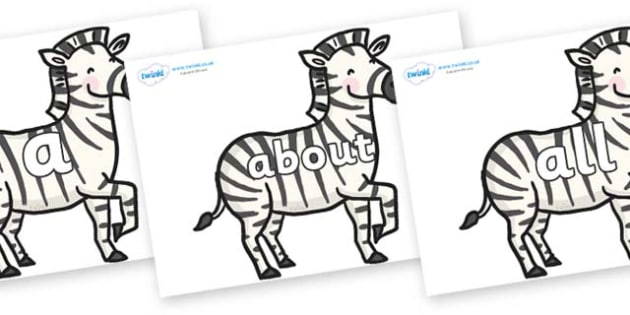 100 High Frequency Words on Zebras - High frequency words, hfw, DfES Letters and Sounds, Letters and Sounds, display words