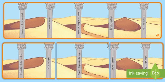 The Five Pillars of Islam Display Posters - Religion, faith, muslim, mosque, allah, God, RE, five pillars