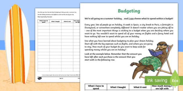 CfE First Level Budgeting for a Summer Holiday Money Activity-Scottish