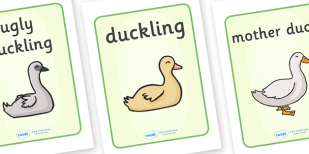 The Ugly Duckling Display Posters - The Ugly Duckling, Hans Christian Andersen, Andersen, fairy tale, display, poster, banner, sign, Danish, bird, barnyard, swan, beautiful, ugly, transformation, tale, story, reading