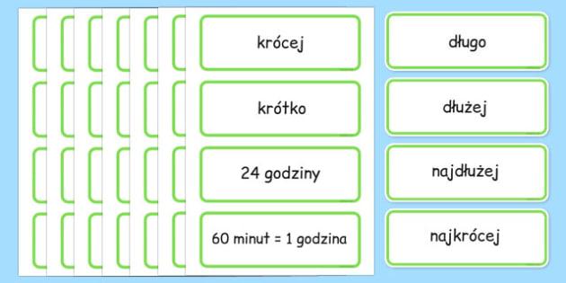Karty ze słownictwem Czas po polsku - godzina, zegar - polish, time, topic, word, cards, telling time