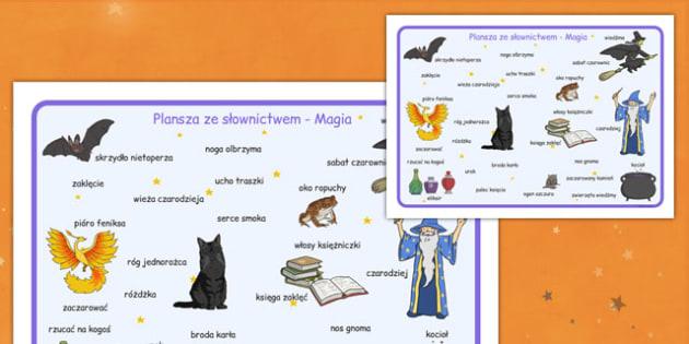 Plansza ze słownictwem Magia po polsku - magiczny, wróżka