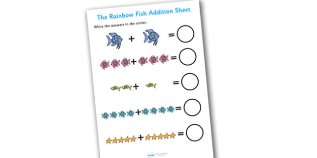 Addition Sheet to Support Teaching on The Rainbow Fish - the rainbow fish, addition, sheet, the rainbow fish addition, addition worksheet, numeracy, maths, sheet for addition