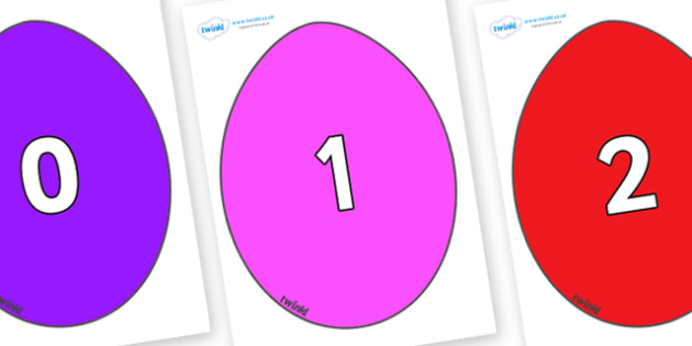 Numbers 0-50 on Easter Eggs (Coloured) - 0-50, foundation stage numeracy, Number recognition, Number flashcards, counting, number frieze, Display numbers, number posters