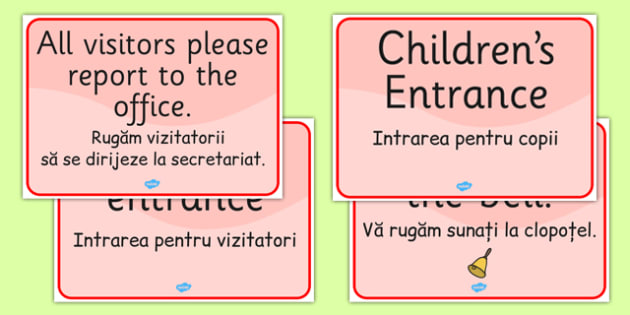 School Office Reception Signs Romanian Translation - romanian, EAL display, school office, reception, signs, display