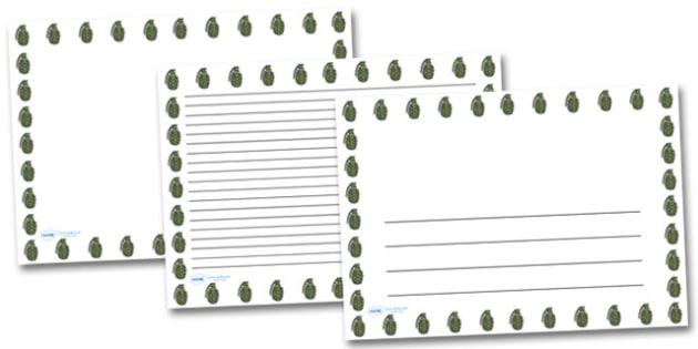 Hand Grenade Landscape Page Borders- Landscape Page Borders - Page border, border, writing template, writing aid, writing frame, a4 border, template, templates, landscape