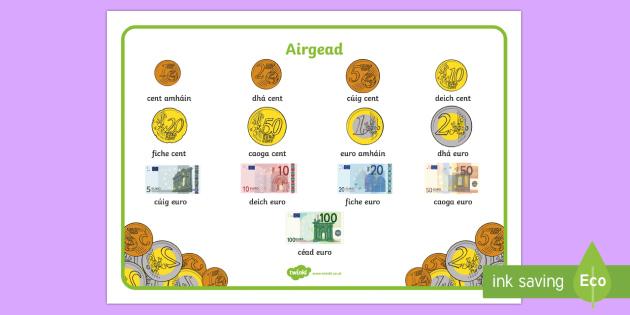 Airgead Word Mat Gaeilge - Gaeilge, Siopadóireacht, Irish, Shopping, euro, airgead, money, word mat, Irish