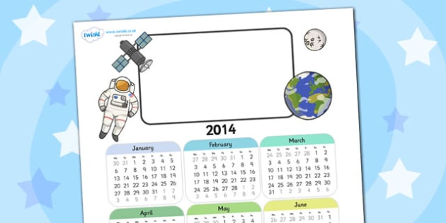 2014 Space Themed Editable Calendar - space, editable calendar, calendar, editable, themed calendar, date, photo calendar, themed editable calendar