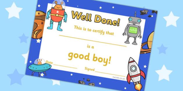 Good Boy Award Certificates -  good boy award certificates, good boy, good, boy, behaviour, certificates, award, well done, reward, medal, rewards, school, general, certificate, achievement