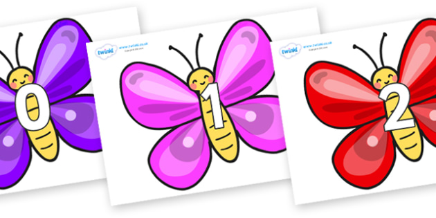 Numbers 0-50 on Butterflies - 0-50, foundation stage numeracy, Number recognition, Number flashcards, counting, number frieze, Display numbers, number posters