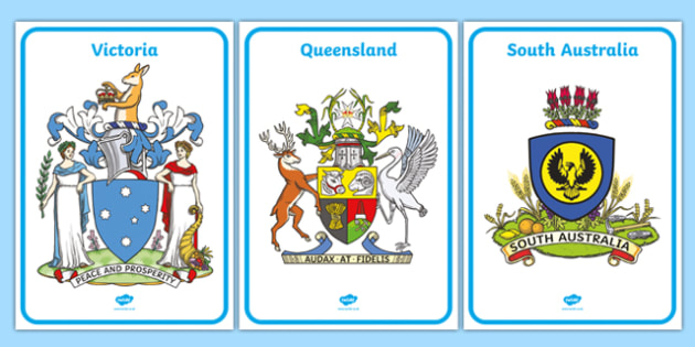 Australian States and Territories Coat of Arms Display Posters - australia, coats of arms, emblems, states, territories, New South Wales, Victoria, Queensland, South Australia, Tasmania, Western Australia, Northern Territory, Australian Capital Terri