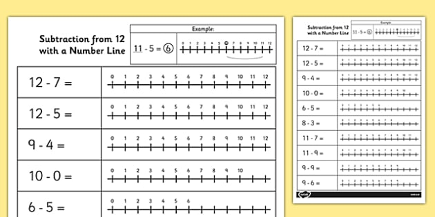Subtraction from 12 with a Number Line Activity Sheet - number, worksheet