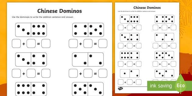 Chinese New Year Domino Addition Sheet - addition sheet, chinese