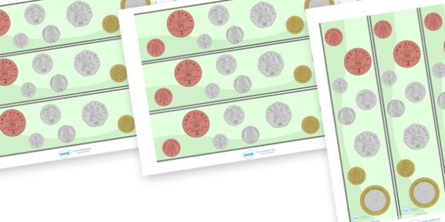 Coin Display Borders - coin, coins, currency, display border, classroom border, border, euros, pound, pounds