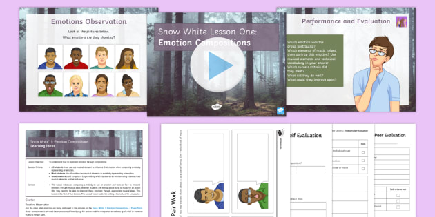 Snow White  1: Emotion Compositions  Lesson Pack - Snow White, Composition, rhythm, pitch, tempo, timbre, structure, emotion