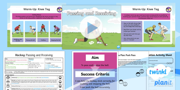 PlanIt PE Year 4 Hockey Lesson Pack Lesson 1 Passing and Receiving - Hockey, PlanIt, push, pass, receive, stop, control, invasion games, Y4, KS2