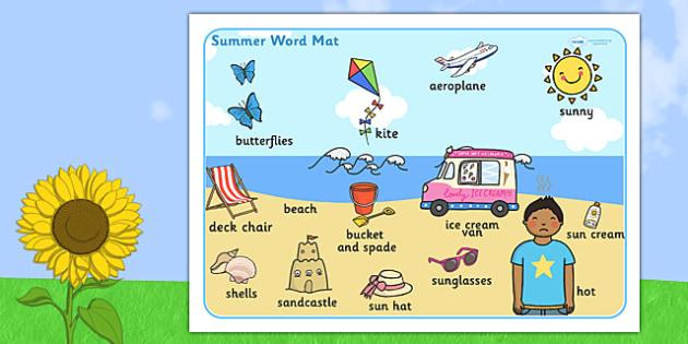 Summer Themed Scene Word Mat - seasons, visual aid, keywords
