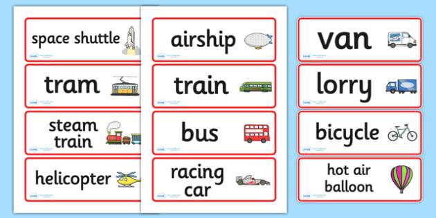Transport Word Cards - Transport, word card, flashcards, car, van, lorry, bike, motorbike, plane, aeroplane, tractor, truck, bus