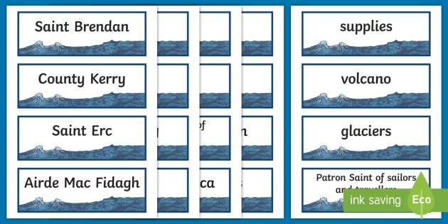 Saint Brendan the Navigator Word Cards-Irish - Ireland, The Land of Saints and Scholars,early christian Ireland,Irish saints, monastic Ireland, st.