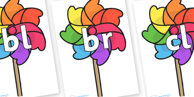 Initial Letter Blends on Beach Windmills - Initial Letters, initial letter, letter blend, letter blends, consonant, consonants, digraph, trigraph, literacy, alphabet, letters, foundation stage literacy