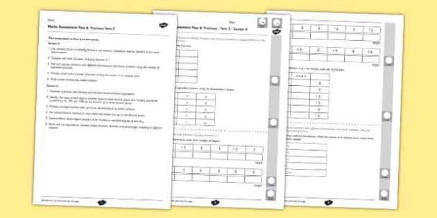 Year 6 Maths Assessment Term 2 Fractions - year 6, maths, assessment, term 2, fractions