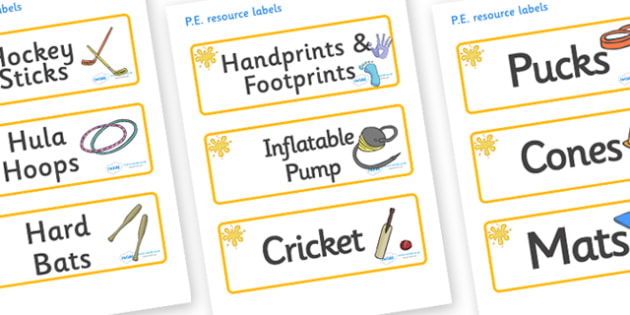 Orange Themed Editable PE Resource Labels - Themed PE label, PE equipment, PE, physical education, PE cupboard, PE, physical development, quoits, cones, bats, balls, Resource Label, Editable Labels, KS1 Labels, Foundation Labels, Foundation Stage Lab