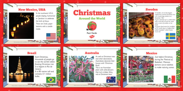 EYFS Christmas Around the World Fact Cards - eyfs, christmas, around the world, fact cards