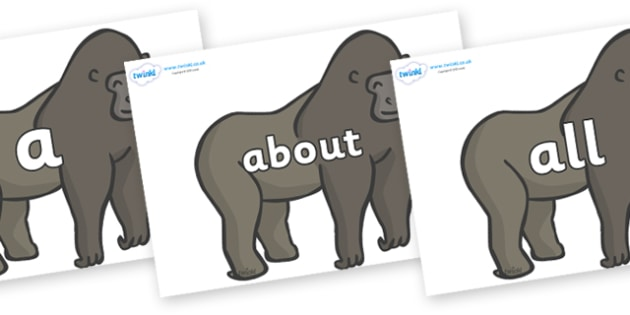100 High Frequency Words on Gorillas - High frequency words, hfw, DfES Letters and Sounds, Letters and Sounds, display words