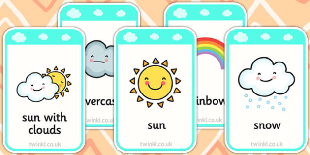 Weather Flashcards - weather, seasons, visual aids, keywords