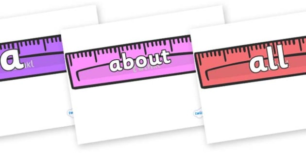100 High Frequency Words on Rulers - High frequency words, hfw, DfES Letters and Sounds, Letters and Sounds, display words