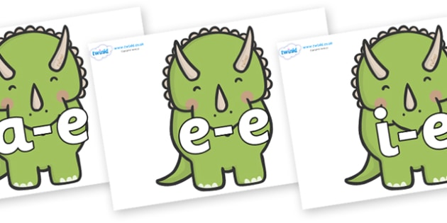 Modifying E Letters on Triceratops Dinosaurs - Modifying E, letters, modify, Phase 5, Phase five, alternative spellings for phonemes, DfES letters and Sounds