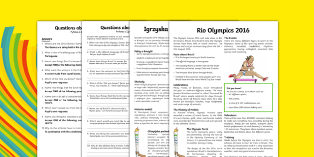 KS2 Rio 2016 Olympic Games Differentiated Reading Comprehension Activity Polish Translation - polish, Olympics, Rio, reading, comprehension, KS2, Y3, Y4, Y5, Y6, Rio 2016, sport, event