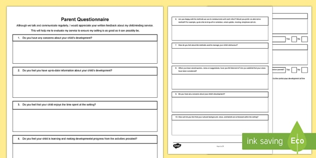 Childminder Parent Questionnaire - Parent Feedback, Childminder