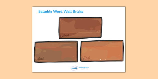 Editable word wall bricks large word wall editable brick for Free printable word wall templates