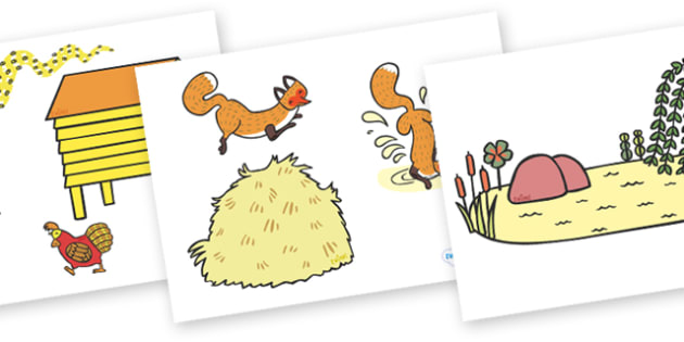 Story Cut Outs to Support Teaching on Rosie's Walk - Rosie's Walk, story, Pat Hutchins, book, sequencing, cut out, cut outs, cutting, Rosie, fox, farm, story book, story resources, Rosie Walk