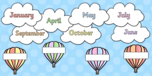 Editable Hot Air Balloon Birthday Display Pack Pastel Colours