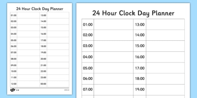 24 Hour Clock Day Planner - 24 hour clock, 24 hour, clock, hour