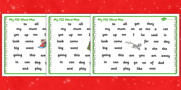 Christmas Cat Themed FS2 Word Mat - christmas cat, cat, christmas, themed, fs2, word, mat, mog