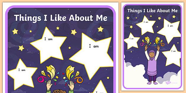 Things I Like About Me Display Poster - usa, america, i like myself, all about me, display poster, things i like