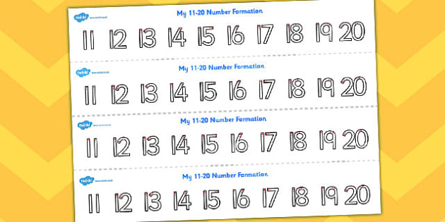 Number Formation Strips 11 to 20 - counting, numeracy, maths, count, overwriting