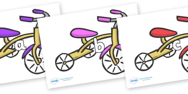 Phase 2 Phonemes on Trikes - Phonemes, phoneme, Phase 2, Phase two, Foundation, Literacy, Letters and Sounds, DfES, display